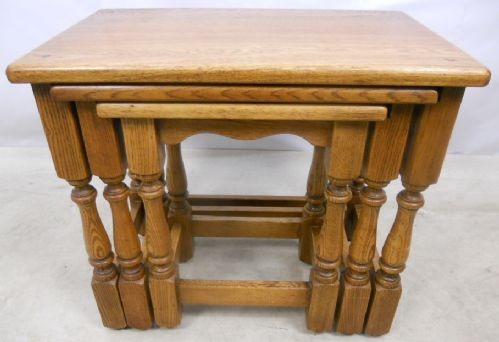 Antique Jacobean Style Light Oak Nest of Three Tables - SOLD